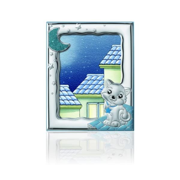 Silver Touch USA Sterling Silver Picture Kitty Frame, Blue, 5″ x 7″