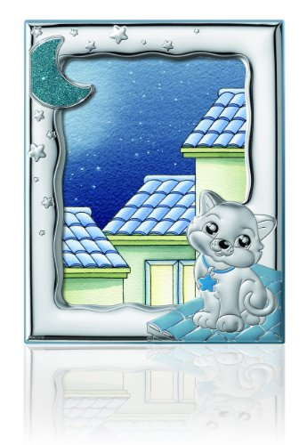 English Sterling Silver Art - Silver Touch USA Sterling Silver Picture Kitty Frame, Blue, 5