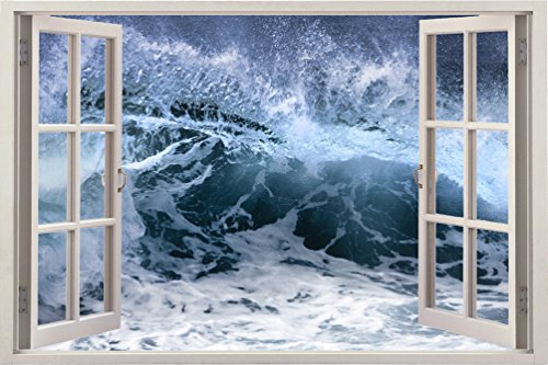 3D Depth Illusion Vinyl Wall Decal Sticker Poster , Window Frame Style Home Decor Art Removable Wall Mural Sticker Pictures, 85 X 115 CM Ocean Dark Sea Storm Waves Seascape View