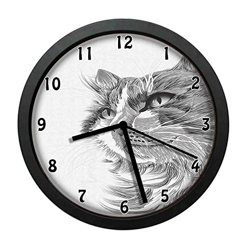 Animal, Cat Head Portrait Furry Cute Head Kitten Domestic Meow Pet Drawing Illustration,Grey White Individuality Modern, Silent Non-Ticking Wall Clock for Living Room Home Office 12in Framed