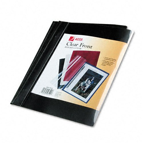 ACCO : Vinyl Report Cover, Prong Clip, Letter, 1/2quot; Capacity, Clear Cover/Black Back -:- Sold as 2 Packs of - 10 -/- Total of 20 Each