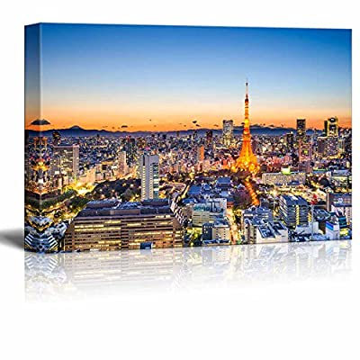 Canvas Prints Wall Art - Tokyo, Japan Skyline at Tokyo Tower | Modern Wall Decor/Home Art Stretched Gallery Canvas Wraps Giclee Print & Ready to Hang - 16