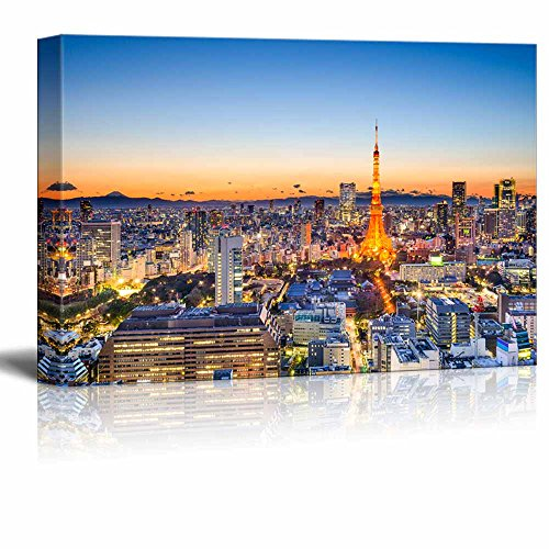 - Canvas Prints Wall Art - Tokyo, Japan Skyline at Tokyo Tower | Modern Wall Decor/Home Decor Stretched Gallery Canvas Wraps Giclee Print & Ready to Hang - 24