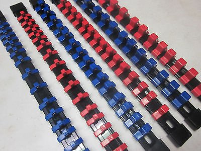 MOUNTABLE ABS ~ 6 ~ RED/BLUE SOCKET HOLDER RAIL RACK ORGANIZER TRAY BALL CLIP
