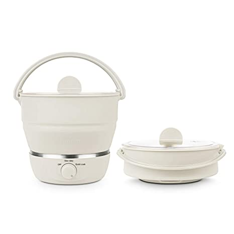 Drizzle Foldable Electric Hot Pot Cooker Dual Voltage100V 240V Mini Kettle Food Grade Silicone Cookerware Boiling Water Steamer Portable Travel