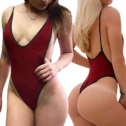10c6f188ea ALLureLove Sexy Womens Monokini Deep V One Piece Backless Cheeky Swimwear  Semi Thong Bikini (Wine Red