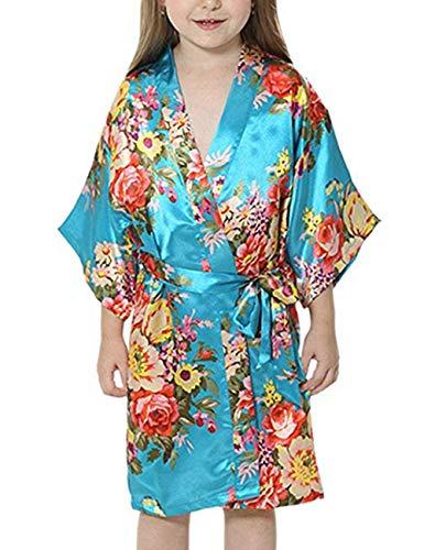 Yidarton Girls Peacock Satin Kimono Robe Fashion Bathrobe Nightgown (US Size 8, Style2 Light -