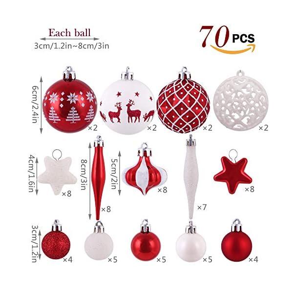 Victor's Workshop 70 Pezzi di Palline di Natale, 3-6 cm Tradizionali Ornamenti di Palle di Natale Infrangibili Rossi e Bianchi per la Decorazione Dell'Albero di Natale 3 spesavip