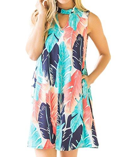 Shele Women Summer Sexy Sleeveless Leaf Printed Keyhole Mini Beach Dress