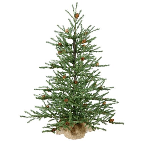 Pine Christmas Trees - Vickerman Unlit Carmel Pine Artificial Christmas Tree with Pine Cones and Burlap Base, 2.5'