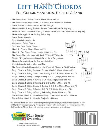 Amazon.com: Left Hand Chords for Guitar, Mandolin, Ukulele and ...