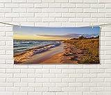 Anniutwo Coastal,Sports Ttowel,Sandy Calm Beach Ocean Waves Tranquil Seashore Setting Sun,Absorbent Towel,Light Blue Light Yellow Light Brown Size: W 12'' x L 35.5''