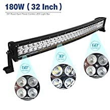 YITATECH 32Inch 180W Cool White Spot Flood Combo LED Light Bar Driving DRL Offroad SUV Car 4WD Boat+Wiring Kit