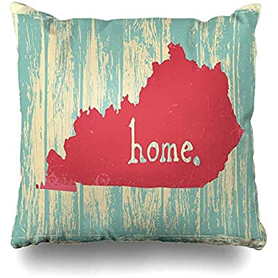 """Throw Pillows Covers Area Kentucky Nostalgic Rustic Vintage State Sign Map Home Decor Pillowcase Square Size 18"""" x 18"""" Cushion Case"""