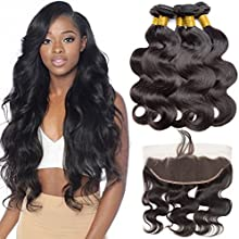 VIPbeauty Virgin Human Hair Bundles with Frontal Unprocessed Body Wave 3 Bundles Body Wave with 13x4 Lace Frontal Brazilian Body Wave 3 Bundles (12 14 16 +10) Ear to Ear with Baby Hair