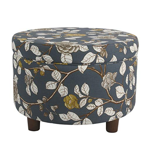 HomePop Round Upholstered Storage Ottoman, Navy Floral