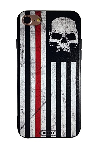 American Flag Skull iPhone 7 Case iPhone 8 Case Black and White USA Vintage Retro iPhone7 iPhone8 Cover Patriotic Military Amazoning Cool Design for Boys Man Guys - KITATA