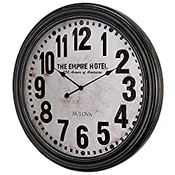 Bulova C4819 Hotelier Wall Clock, 60, Distressed Black Finish
