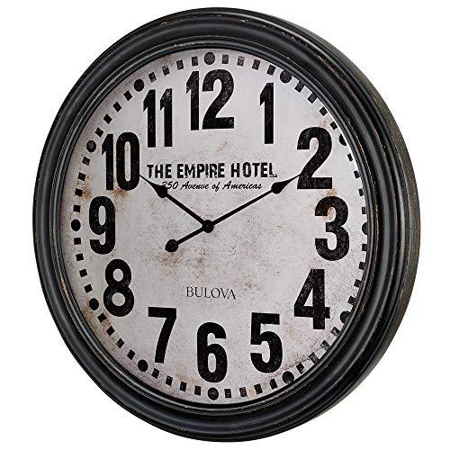 Bulova C4819 Hotelier Wall Clock, 60 , Distressed Black Finish