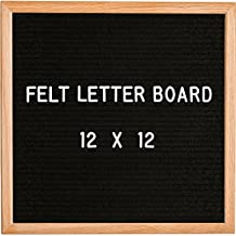 """Modern Retro Black Felt Letter Board 12""""x12"""" – Perfect Home Décor, Teacher Gifts, Office Wall Art – Oak Frame Sign + 344 Letters, Numbers, Punctuation Marks & Special Characters by Board Industry"""
