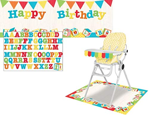 ABC Blocks Birthday Party Decoration Bundle - Includes Banner and High Chair Kit ()