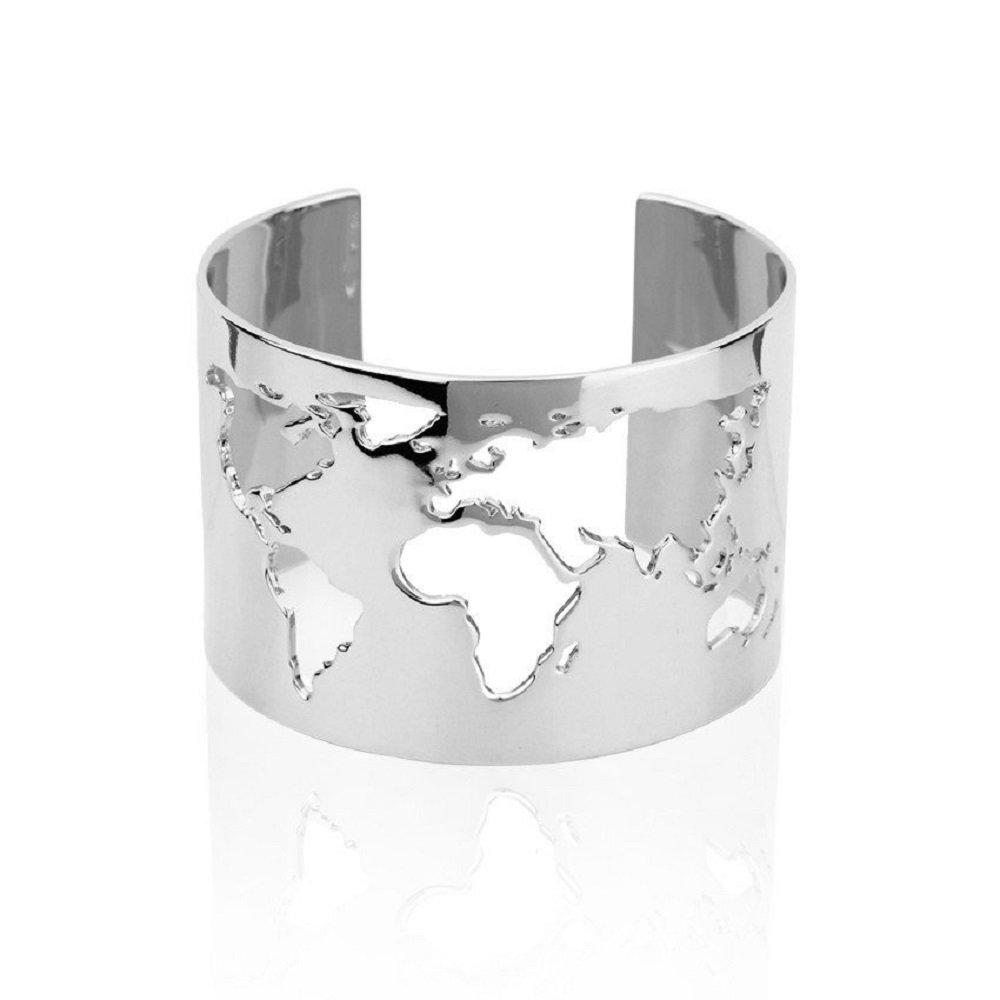 sksu Amazing Handmade Travel Cuff Bangle Bracelet With World Map Cutting - Silver Plating Fashion Jewelry Accessory By
