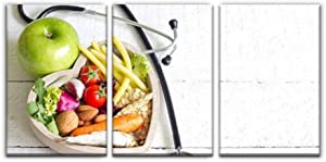 Gracelapin Canvas Wall Art Decor, Healthy Food in Heart Diet Abstract Printed Oil Painting Home Decoration- 3 Panels