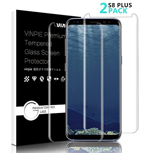 Samsung Galaxy S8 Plus Panzerglas Schutzfolie, Vinpie [2 Stück] Displayschutzfolie für Galaxy S8 Plus Panzerfolie Displayschutz Gehärtetem Glass 9H Härtegrad, Anti-Kratzen, Einfaches Anbringen