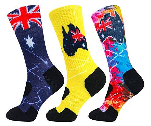 LIN 3 Pack Womens Print Novelty Crew Cushion Basketball Athletic Sports Outdoor Socks Australian Flag Socks9-11