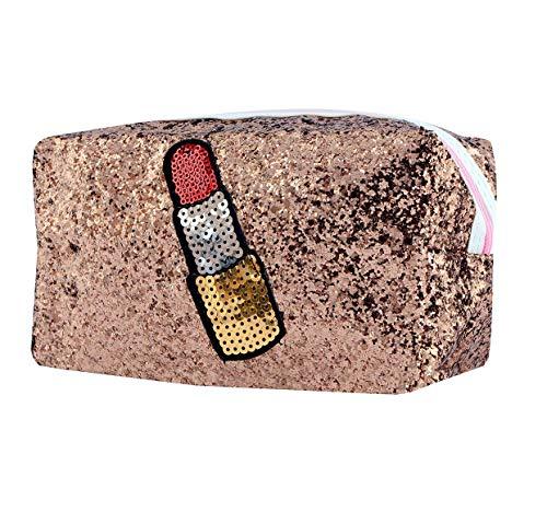 STRIPES Wink Design Peach Colour Cosmetic Bag Cosmetic Pouch Makeup Bag Toiletries Kit Organizer Hand Bag Travel Kit…
