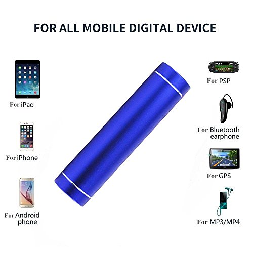 Energy Bar Mini Lipstick Power Bank External Battery Charger - 2200 mah - External Backup Power Pack for iPhone 5, 4S, 4, 3GS, 3, Samsung Galaxy S2, S3, S4, S5 (Blue)