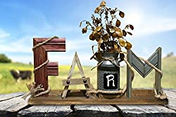 "FARMHOUSE Decor Sign FARM Word Standing with Rope, metal milk can, & Flowers (optional) Rustic Distressed Wood 30"" BURGUNDY BROWN Barn Red *Fireplace mantle *Above Kitchen Cabinets"