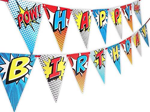 POP parties Superhero Happy Birthday Banner Pennant - Superhero Party Supplies - Superhero Decorations - Red