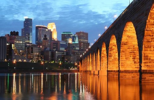 Stone Arch Bridge - Imagekind Wall Art Print Entitled Minneapolis Stone Arch Bridge by Wayne Moran | 32 x 21