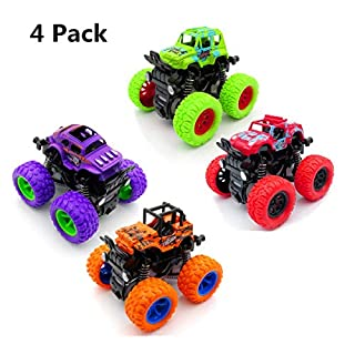 H2solution Car Toy Friction Powered Push Go Pull Back Vehicle Playsets, Monster Trucks Car Toys, Boys Girls Birthday Gift, Educational Toy Cars for Kids