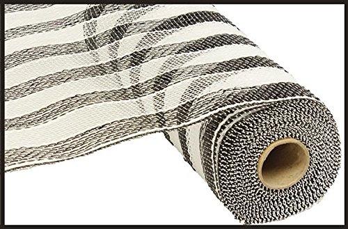 10 inch x 30 feet Deco Poly Mesh Ribbon - Black and White Striped Mesh