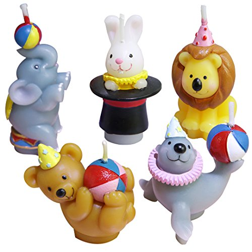 (Creative Birthday Candles Circus Animal Shapes Bears Sea Lions Rabbits Lions Elephants For Baby Cake Top,set of 5)