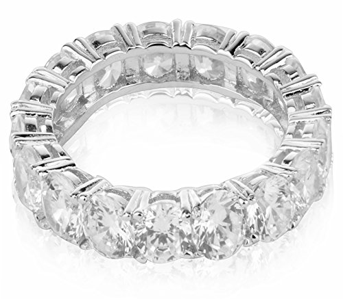 (Quality Jewels Sterling Silver Cubic Zirconia Extravagant Shared Prong Eternity Wedding Band 4,MM (5))