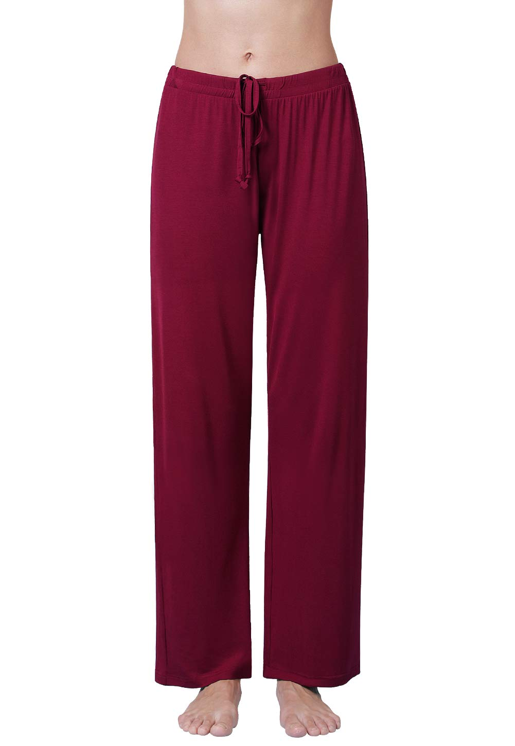 073efd0d92 Air Curvey Womens Pajama Pants Wide Leg Lounge Pants Wine Red XL