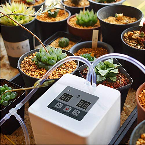ABDQPC Automatic Irrigation Kit, Self Watering System, with Electronic Water Timer, 10m Tube, Automatic Drip Watering System for Gardens, Balconies, Hanging Baskets, Potted Plants (Square)…