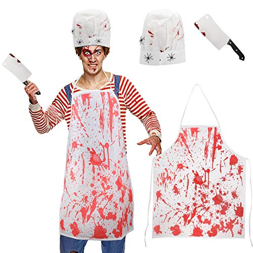 Konsait Halloween Bloody Butcher Costumes Kit Bloody Horror Chef Hat Cooking Chef Apron Fake Butcher Knife Weapon for Hounted House Decorations Zombie Halloween Party Favor Supplies