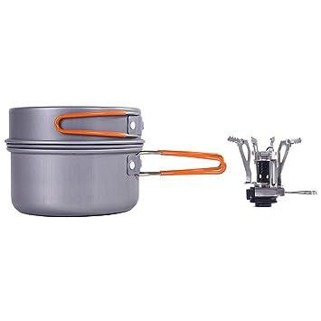 Kottle 8 pieza compacta acampar al aire libre senderismo aluminio antiadherente del cookware y plegables acero inoxidable estufa de Camping portátil Mini: ...