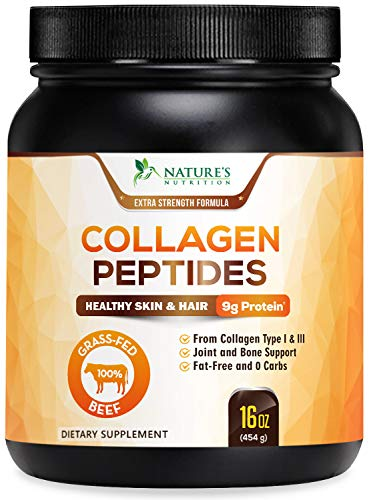 Collagen Powder, Highest Potency Grass Fed Hydrolyzed Collagen Peptides - Made in USA - Best Multi Collagen Protein Supplement Types I & III for Men & Women, Non-GMO - Unflavored 16oz
