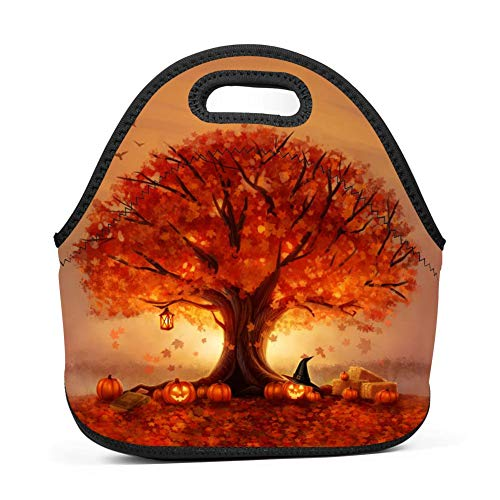 COBKKK Handle Autumn tree lamp sun beautiful Lunch Bag Heat preservation Lunch Tote Waterproof High-capacity Outdoor Lunchbox Zipper