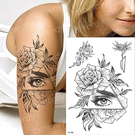 tzxdbh Tatuaje Temporal Manga Negra Tatuaje Flor Ojo Tatuajes ...