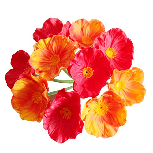 Mandy's Orange & red 10 pcs Poppies Silk Artificial Flowers for Wedding Home & Kitchen PU 12.5