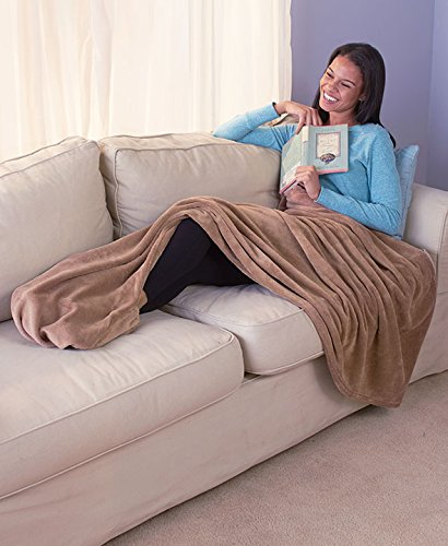 (The Lakeside Collection Micro-Plush Throw with Foot Pocket Mocha)