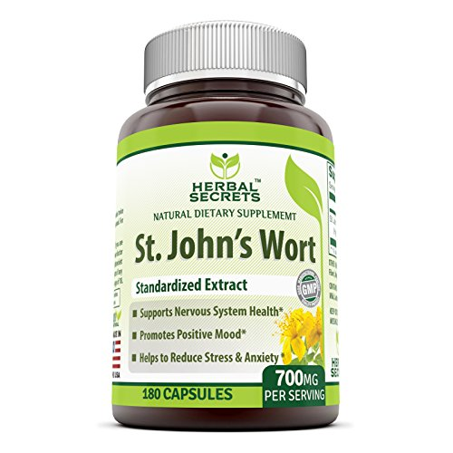 Herbal Secrets St. John's Wort 700 Mg 180 Capsules (Non-GMO) - Supports Feelings of Calm and Relaxation* Helps Maintain a Positive Mood*