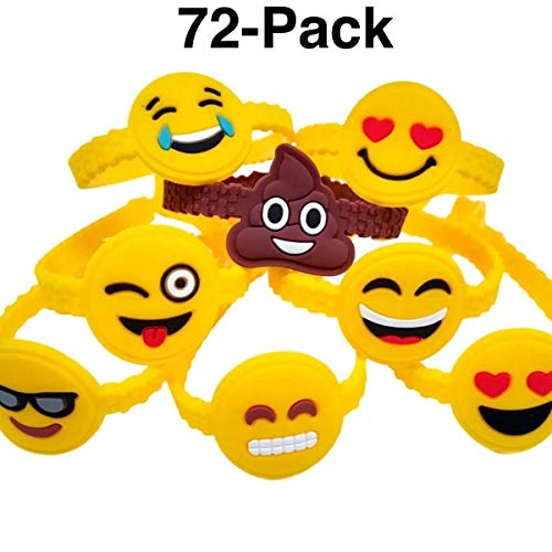 OHill 72Pcs Emoji Bracelets Emoticons Wristbands Birthday Party Favors Supplies, Party Goodie Bags