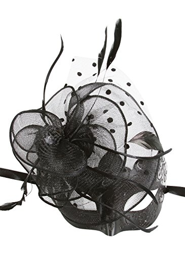 [KAYSO INC The Cocktail Party Black Venetian Masquerade Mask] (Adult Womens Mardi Gras Queen Costumes)